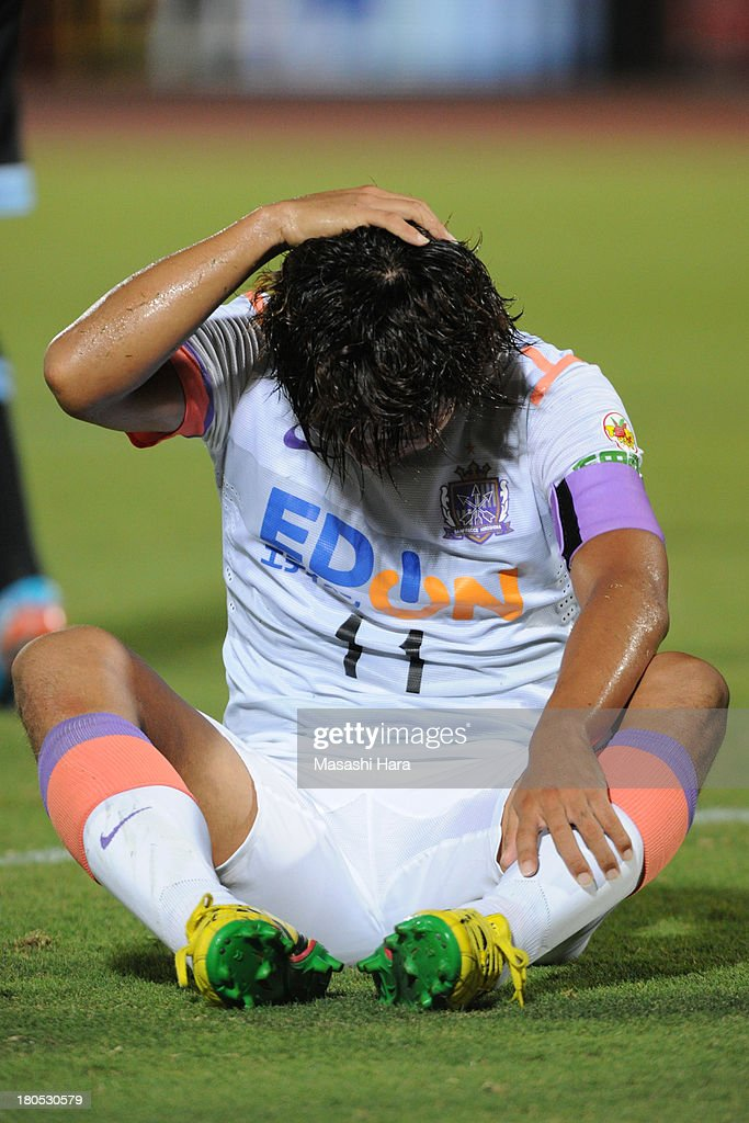 <a gi-track='captionPersonalityLinkClicked' href=/galleries/search?phrase=Hisato+Sato&family=editorial&specificpeople=713823 ng-click='$event.stopPropagation()'>Hisato Sato</a> #11 of Sanfrecce Hiroshima reacts during the J.League match between Kawasaki Frontale and Sanfrecce Hiroshima at Todoroki Stadium on September 14, 2013 in Kawasaki, Japan.