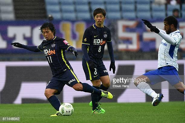 Hisato Sato of Sanfrecce Hiroshima#11 in action during the FUJI XEROX SUPER CUP 2016 match between Sanfrecce Hiroshima and Gamba Osaka at Nissan...