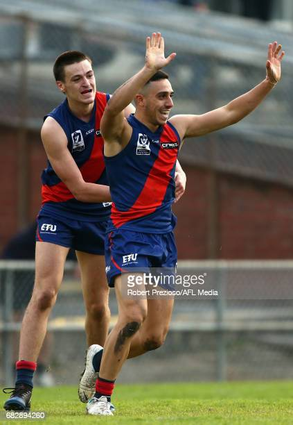 Hisham Kerbatieh of Coburg celebrates a goal during the round five VFL match between Coburg and Sandringham at Pirhana Park on May 14 2017 in...