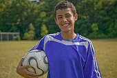 Hispanic boy holding soccer ball