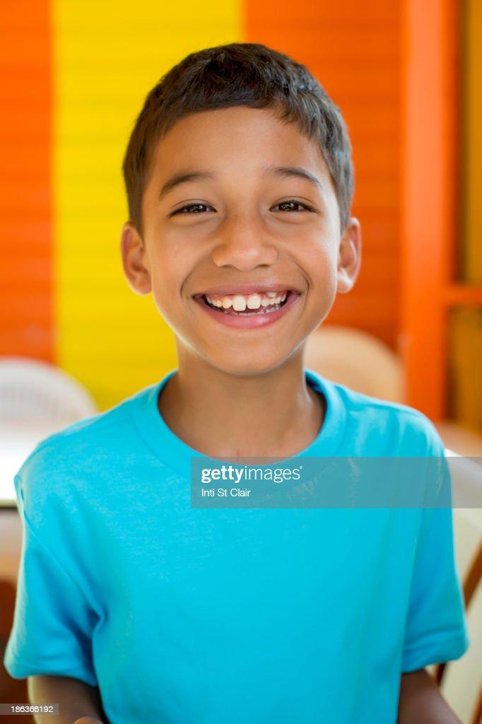 Hispanic boy smiling : Stock Photo