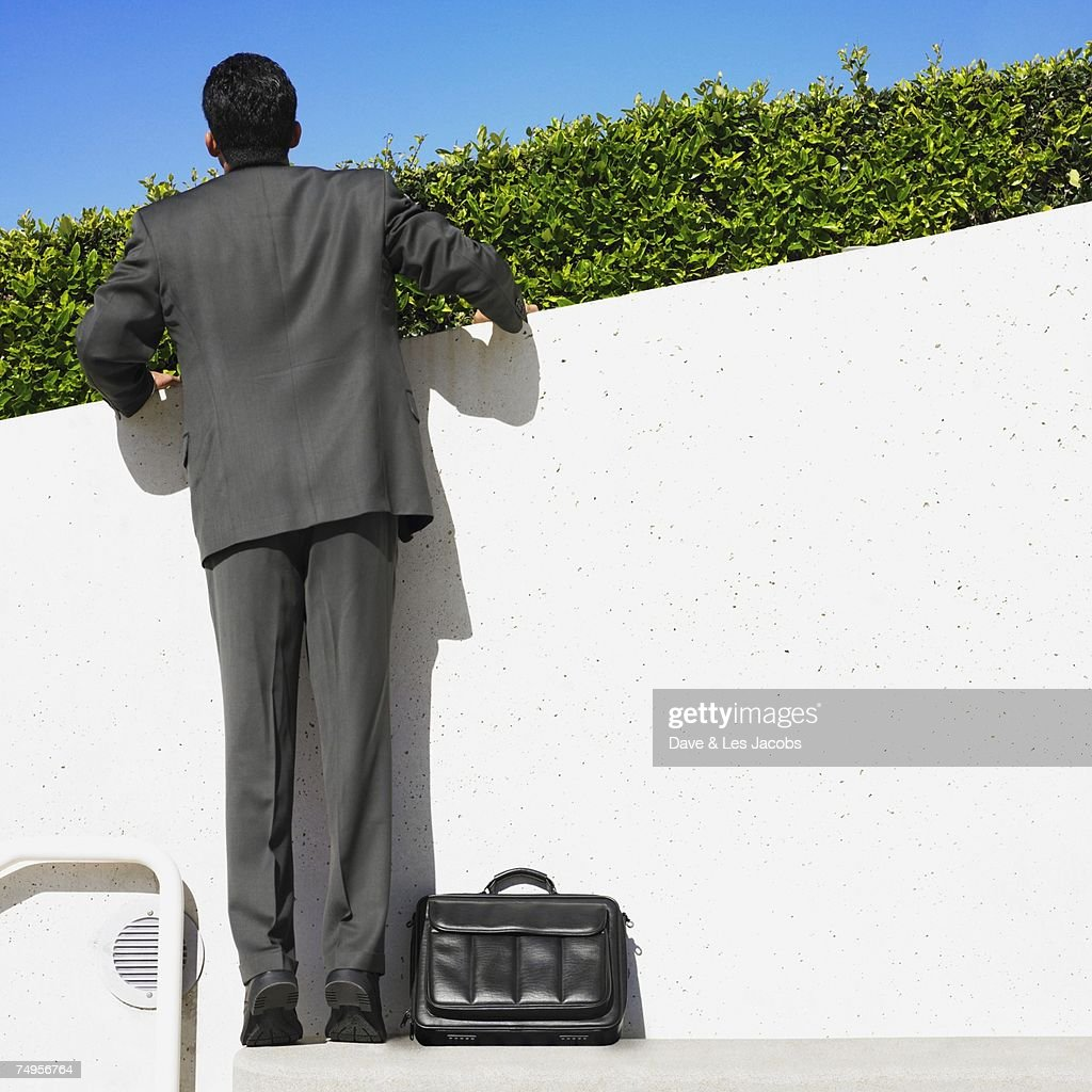 Hispanic businessman looking over hedge : Stock Photo