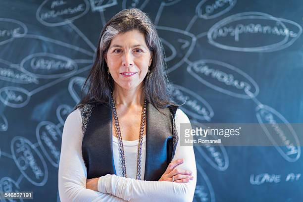 Hispanic businesswoman smiling by flow chart on blackboard