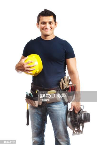 Hispanic Bauarbeiter, lateinamerikanische Mann mit Schutzhelm, Werkzeuge
