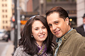Hispanic couple smiling
