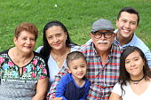 Hispanic family in the park.