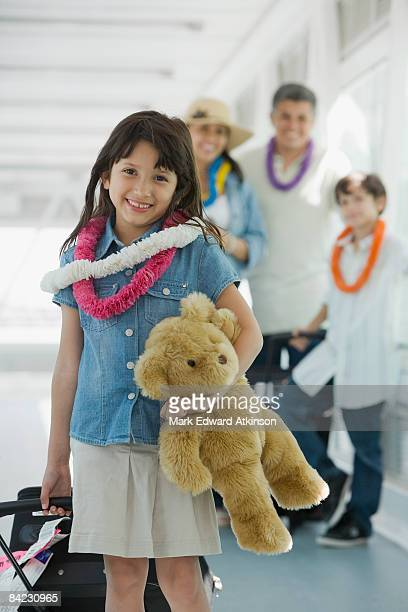 Hispanic family traveling in airport