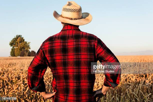 Hispanic farmer standing in crop field