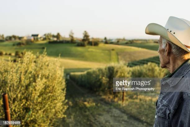 Hispanic farmer standing in vineyard