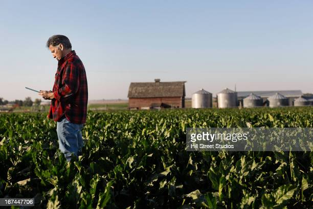 Hispanic farmer using tablet computer in crop field