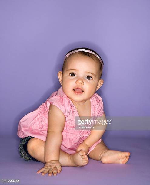 Hispanic female baby portrait.