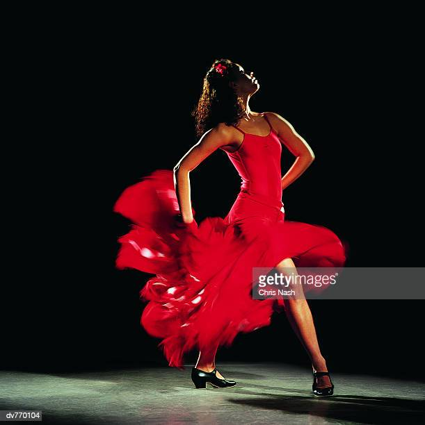 Hispanic Female Dancing the Flamenco