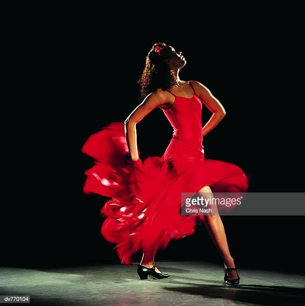 Hispanic Female Dancing the Flamenco