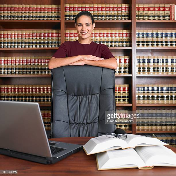 Hispanic female lawyer in office