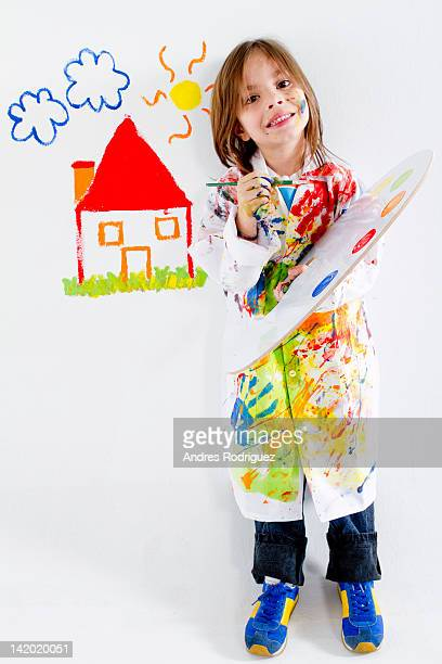 Hispanic girl painting
