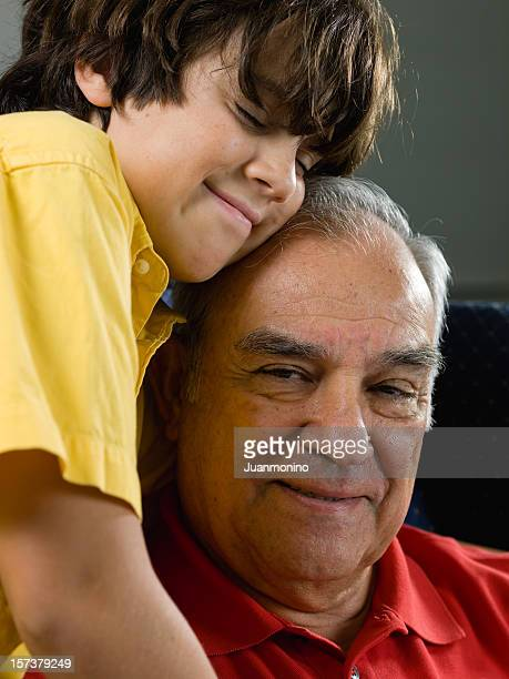 Hispanic grandfather and his grandson