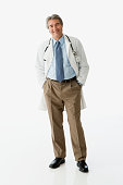 Hispanic male doctor with hands in pockets