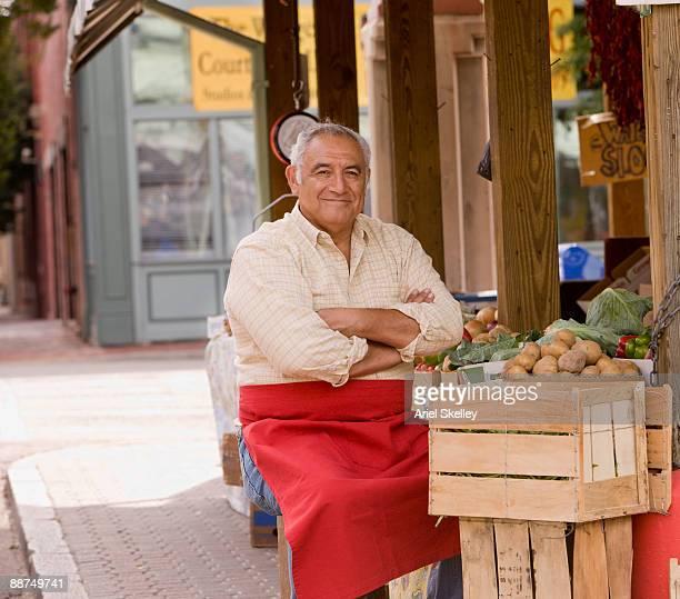 Hispanic man at vegetable market