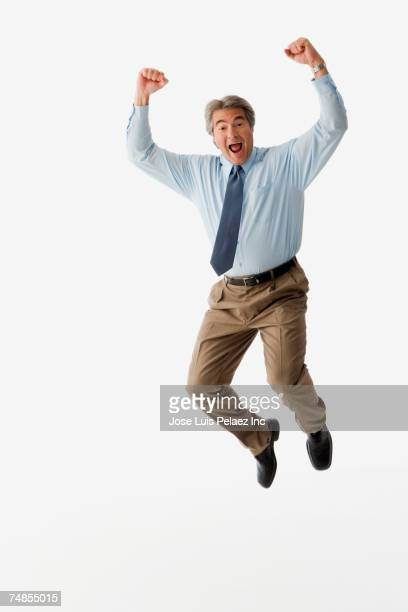 Hispanic man jumping