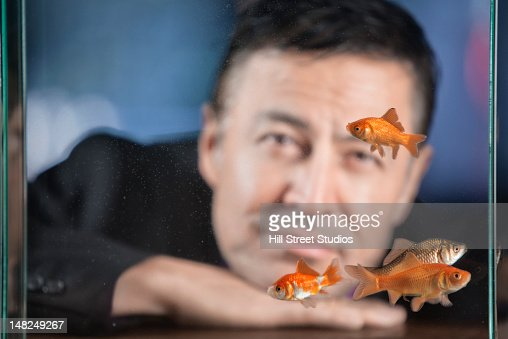 Hispanic man looking at goldfish