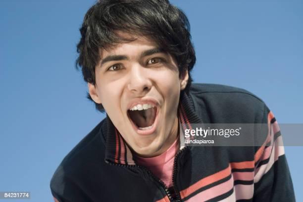 Hispanic man shouting
