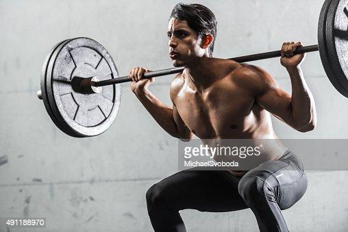 Hispanic Man Strength Training : Stock Photo