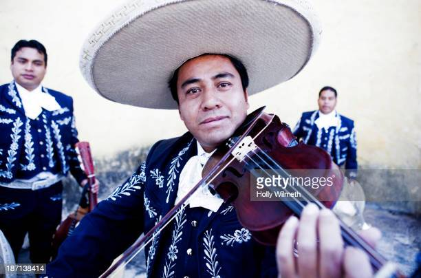 Hispanic mariachi band playing outdoors