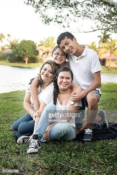 Hispanic Mother and three children