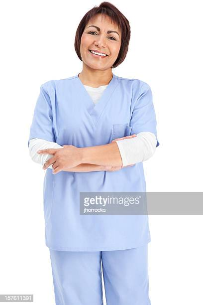 Hispanic Nurse in Blue Scrubs