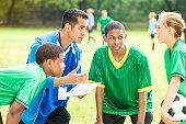 Hispanic soccer coach gives team a pep talk