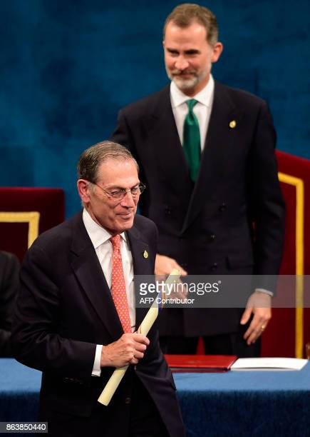 Hispanic Society of America members Philippe de Montebello leaves the stage after receiving the 2017 Princess of Asturias Award for International...