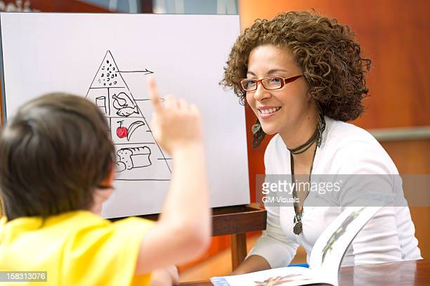 Hispanic teacher helping student