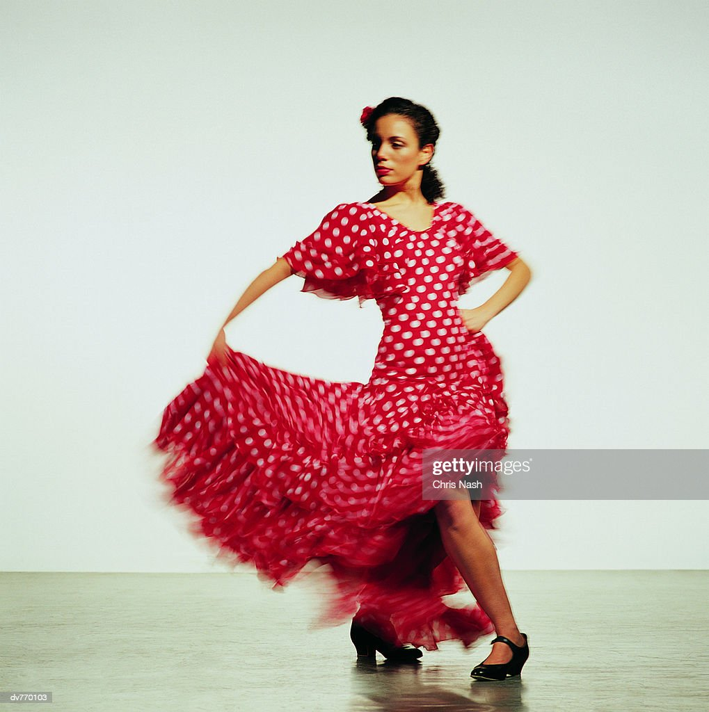 Hispanic Woman Dancing the Flamenco