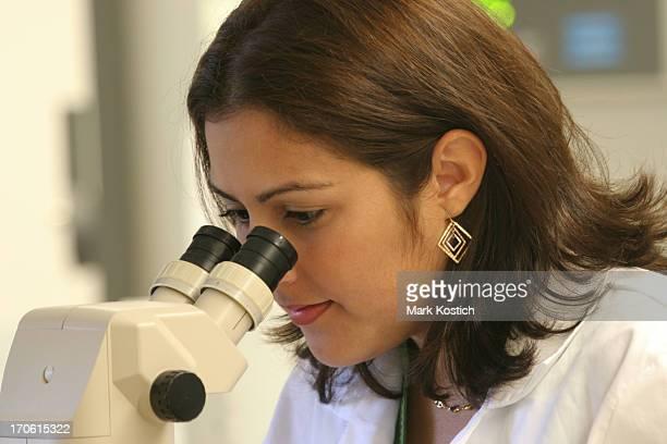 Mujer hispana haciendo investigación mirando A través de un microscopio