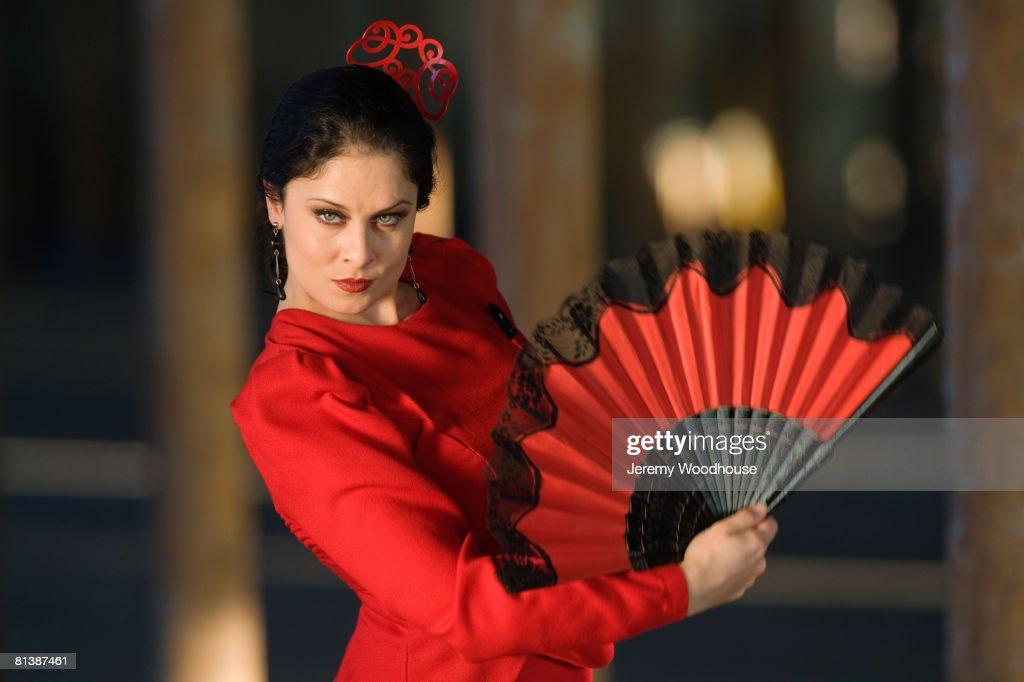 Hispanic woman flamenco dancing : Stock Photo