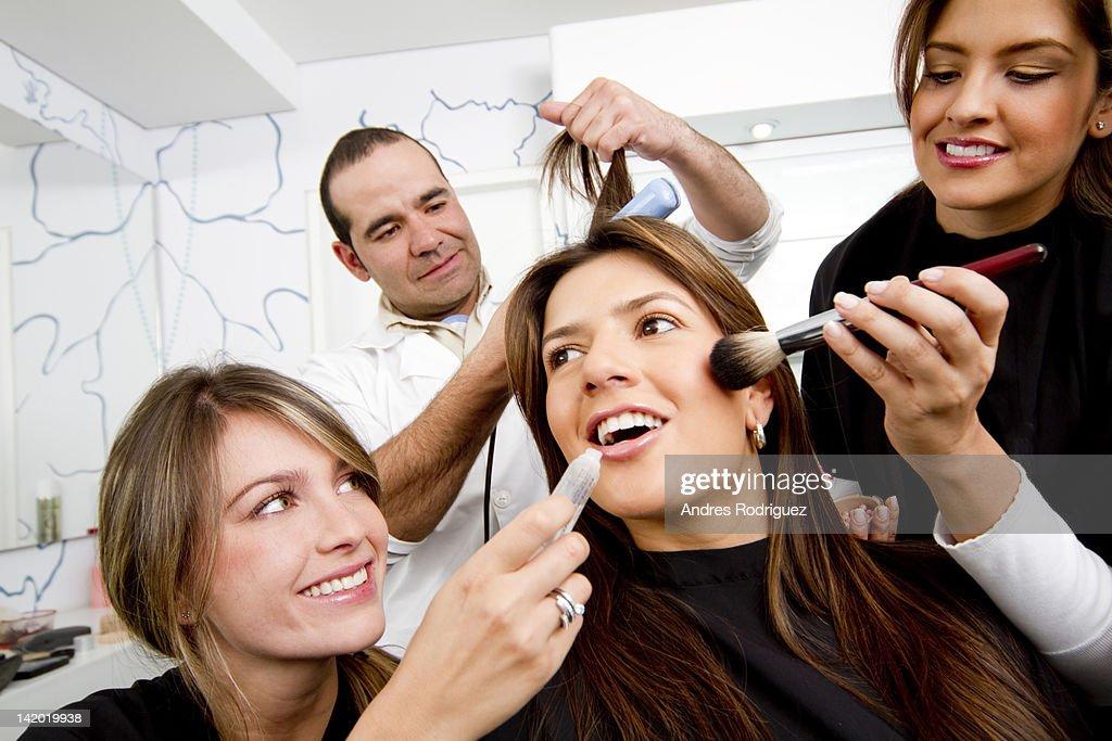 Hispanic woman having beauty treatments in salon : Stock Photo