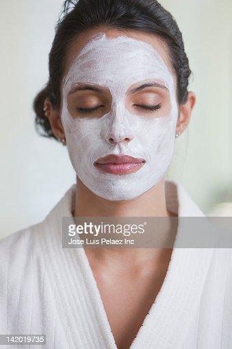 Hispanic woman in facial mask