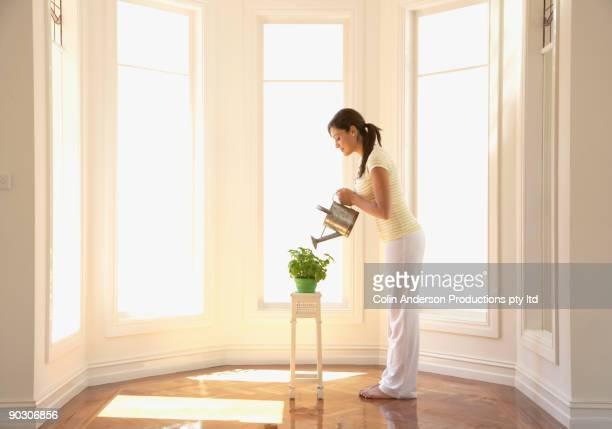 Hispanic woman watering houseplant