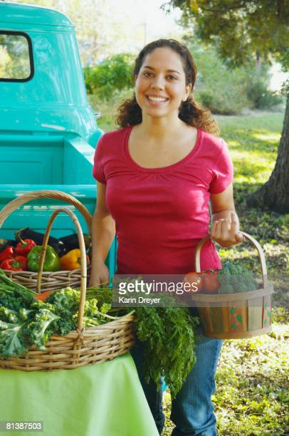 Hispanic women at organic farm stand
