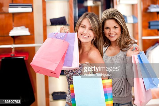 Hispanic women shopping together : Stock Photo