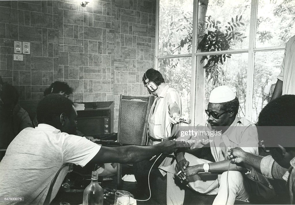 Hissène Habré press conference in N'Djamena during his 1982 coup d'etat, Chad, 4th June 1982.