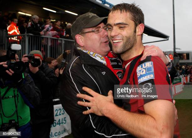Histon goal scorer Matthew Langston is congratulated by Histon Chairman Gareth Baldwin following the FA Cup Second Round match at the Glass World...