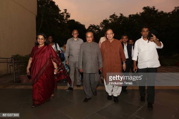 Historian and politico Sugata Bose and former President of India Pranab Mukherjee during the launch of a book 'The Nation as Mother And Other Visions...