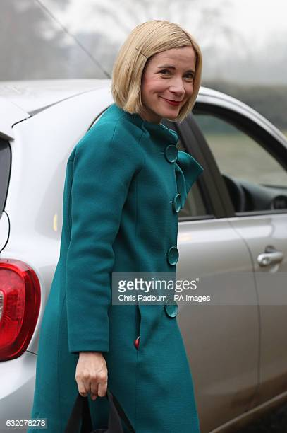 Historian Lucy Worsley arrives at Newton village hall in Norfolk to attend a meeting of the Sandringham Women's Institute as the guest speaker