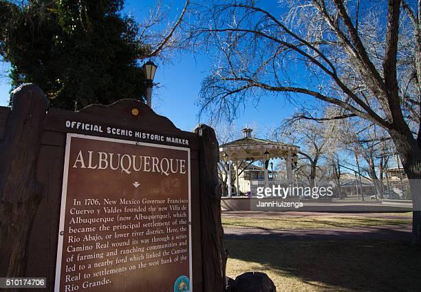 Historic Albuquerque Plaza with Historic Marker and Gazebo