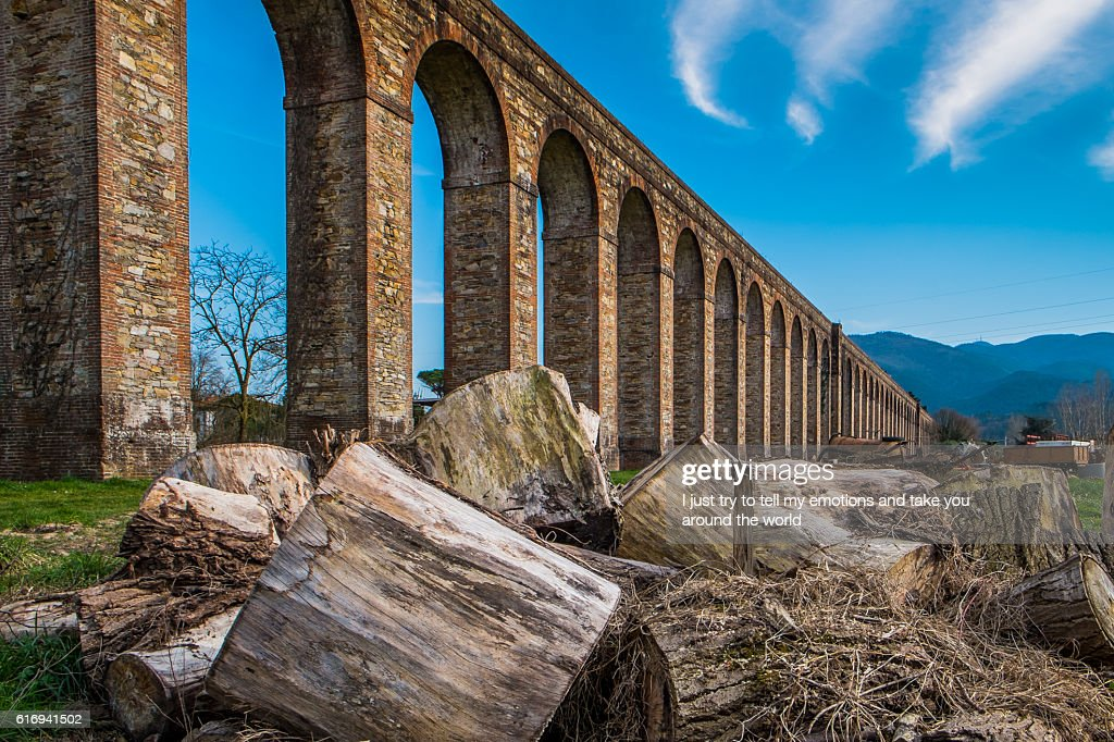 Historic aqueduct, Lucca, Tuscany, Italy : Stock Photo
