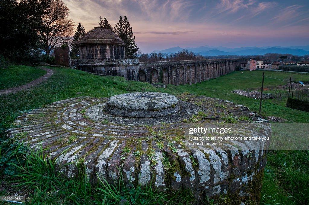 Historic aqueduct, Lucca, Tuscany, Italy : Stock Photo