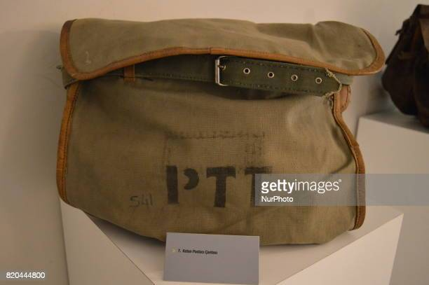 A historic bag of mail carriers is seen at the PTT Stamp Museum in Ankara Turkey on July 21 2017