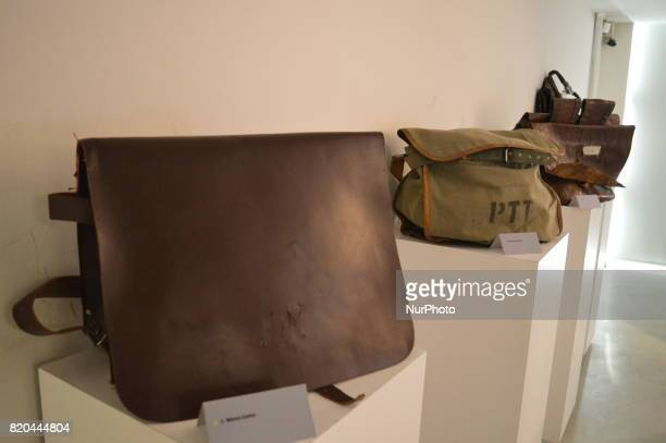 Historic bags of mail carriers are seen at the PTT Stamp Museum in Ankara Turkey on July 21 2017