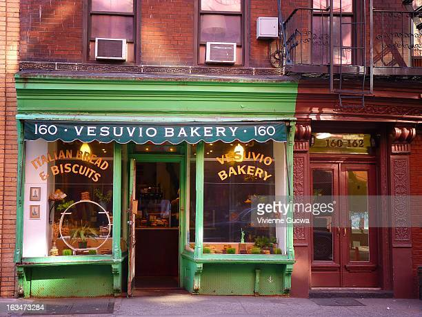 CONTENT] A historic bakery facade in New York City The signage reads Vesuvio Bakery Italian Bread Biscuits This charming bakery entrance is nearly...